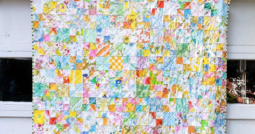 Stylish in color order finished vintage sheet four patch quilt Unique Vintage Sheet Quilt Gallery