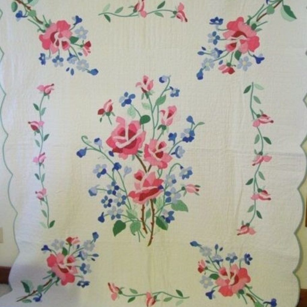 Stylish old quilt patterns full view of the american beauty Cool Antique Applique Quilt Patterns