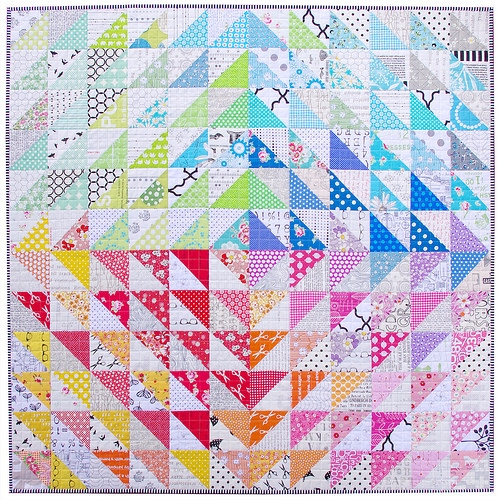 Stylish red pepper quilts a rainbow half square triangle quilt 9 Beautiful Triangle Patchwork Quilt Gallery