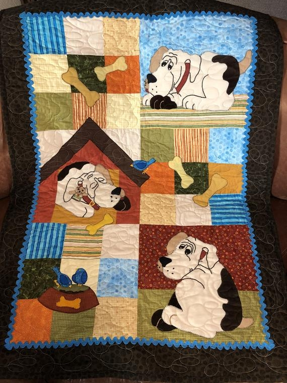 Unique dog quilt pattern aint nothing but a hound dog cute dog puppy themed gift easy bed or wall hanging appliqu quilt 9 Beautiful Dog Quilting Pattern Inspirations
