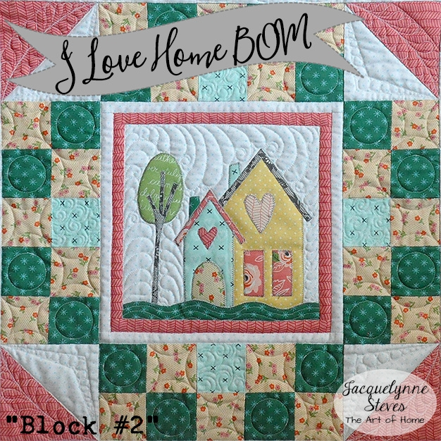 Unique free house quilt block 2 for the i love home free block of 9 Unique House Quilt Block Patterns