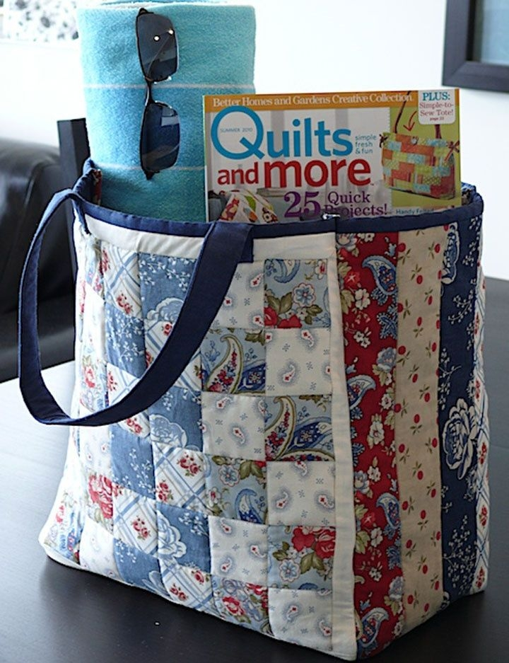 Unique free pattern day tote bags tote bags sewing quilted 9 Cozy Quilted Tote Bag Patterns Gallery