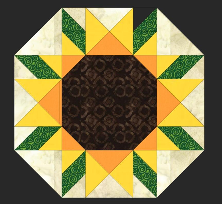 Unique free quilt pattern sunflower placemat i sew free 9   Sunflower Quilt Block Pattern