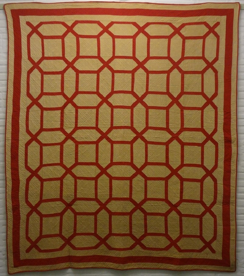 Unique garden maze antique quilt red and camel 9 New Garden Maze Quilt Pattern