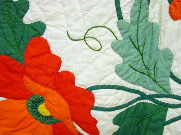 Unique poppies applique quilt mint sold cindy rennels antique quilts Cool Antique Applique Quilt Patterns