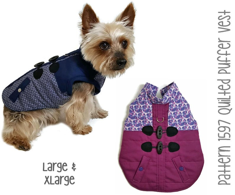 Unique quilted puffer dog vest sewing pattern 1597 pet dog cat harness vests pet dog cat winter clothes pet dog cat winter jackets lg xlg 10 Modern Quilted Dog Coat Pattern Gallery
