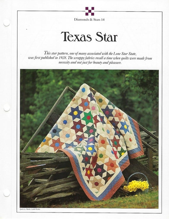 Unique texas star quilt pattern best loved quilts vintage quilt block sewing pattern home decor bedspread bedding 9 Beautiful Vintage Quilt Blocks State By State Gallery
