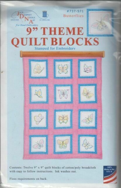 Beautiful 1 jack dempsey butterflies stamped embroidery quilt blocks 9 Elegant Jack Dempsey Quilt Blocks Gallery