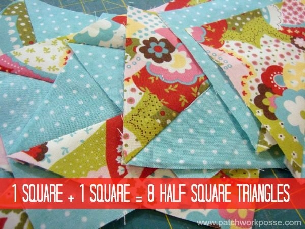 Beautiful 8 half square triangles at once tutorial patchwork posse Unique Quilt Patterns Using Half Square Triangles