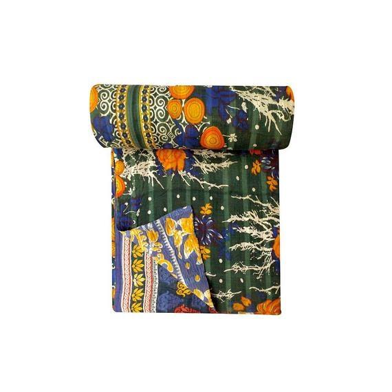 Beautiful handmade vintage kantha quilt reversible quilt multicoloured quilt kantha throw boho home decor 10 Modern Vintage Kantha Quilt