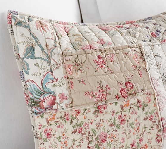 Beautiful madelyn reversible floral patchwork shams pottery barn Elegant Floral Patchwork Quilt Patterns