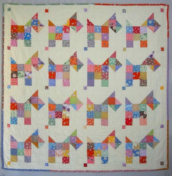 Beautiful scotties vintage quilt pattern from quilts elena 10 Beautiful Vintage Quilt Pattern Inspirations