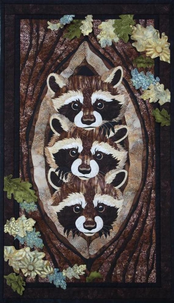 Beautiful who what where raccoons toni whitney fusible applique quilting quilt pattern 9   Toni Whitney Quilt Patterns Gallery