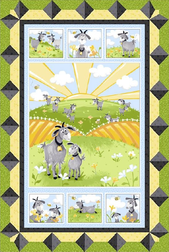 Cool hildy the goat the hills are alive free quilt pattern 11 New Baby Quilt Fabric Panels Gallery