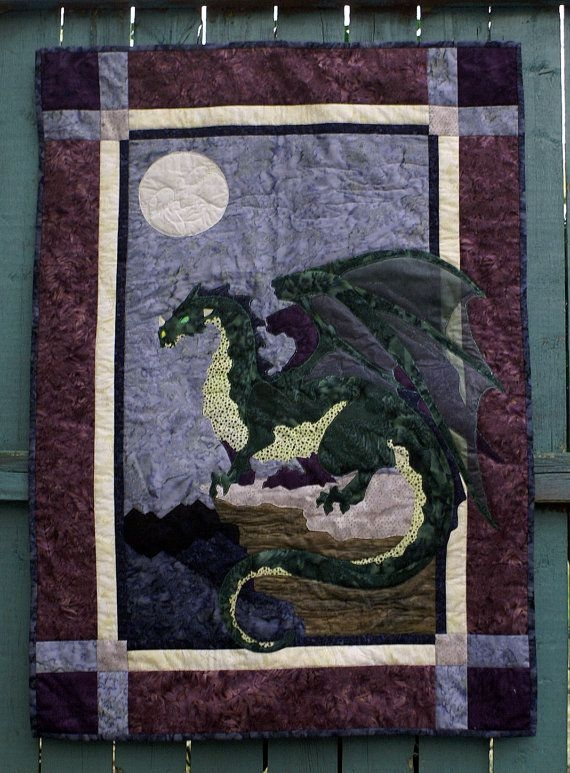 Cool majestic dragon 24x36 wall hanging dark green with 9 Modern Dragon Quilt Patterns Inspirations