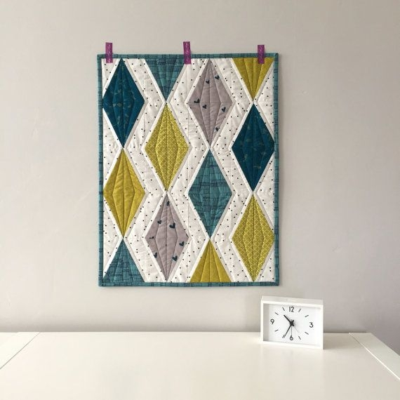 Cool modern quilt wall hanging diamond quilt teal and etsy 11 Beautiful Quilted Wall Hanging Pattern Inspirations
