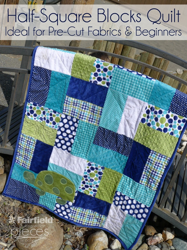 Cool pieces polly easy half square blocks quilt easy pre Stylish Easy Block Quilt Patterns For Beginners