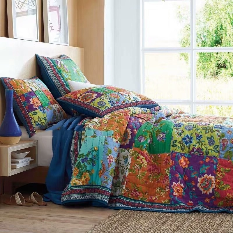 Cool us 15778 31 offcotton handmade patchwork quilt set 3pcs vintage bedspread quilted bedding quilts bed covers king size american style 11 Unique Vintage Patchwork Quilt Bedding Gallery