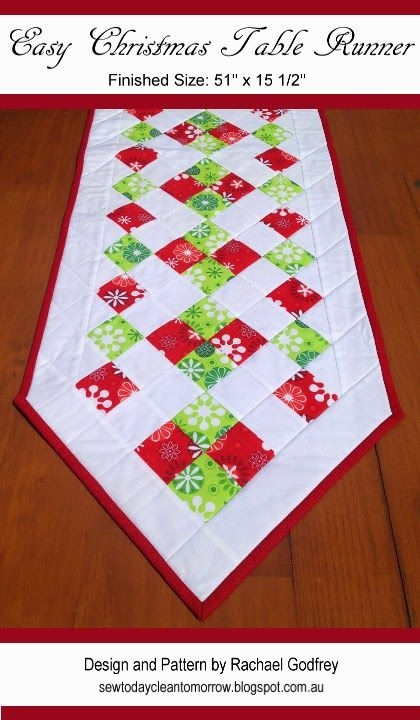 Cozy easy christmas table runner sew today clean tomorrow 10 Stylish Easy Quilted Table Runner Patterns Inspirations