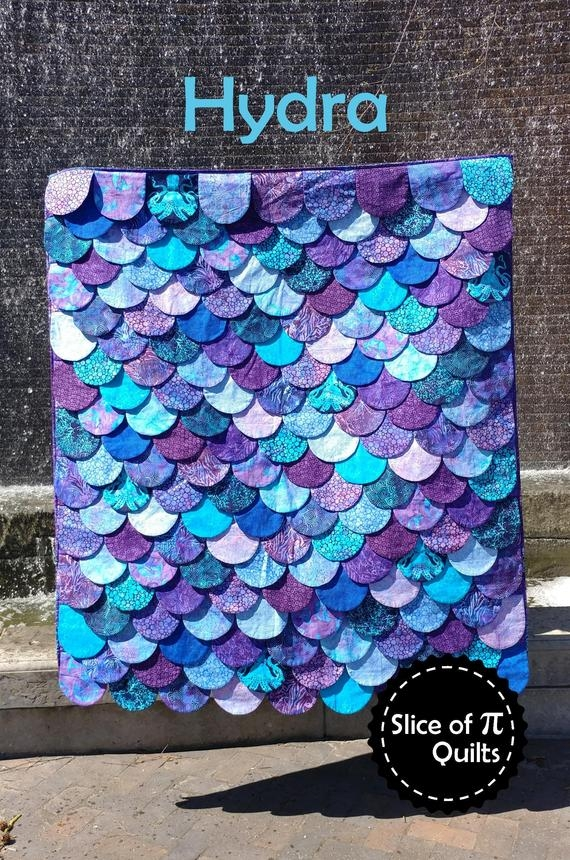 Cozy pdf hydra quilt pattern digital download mermaid dragon lizard shark fish scales quilt 9 Modern Dragon Quilt Patterns Inspirations