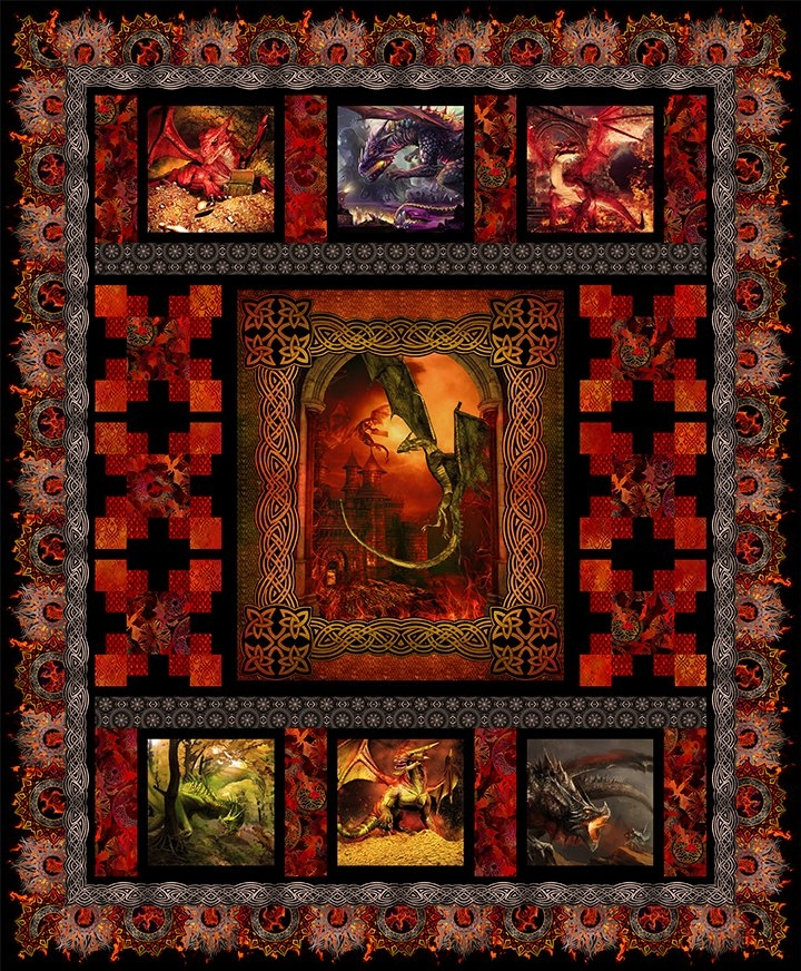 Elegant dragons quilt pattern 9 Modern Dragon Quilt Patterns Inspirations