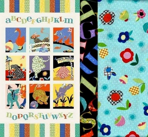 Elegant easy fabric panel quilt kit vintage look animal alphabet ba quilt 11 New Baby Quilt Fabric Panels Gallery