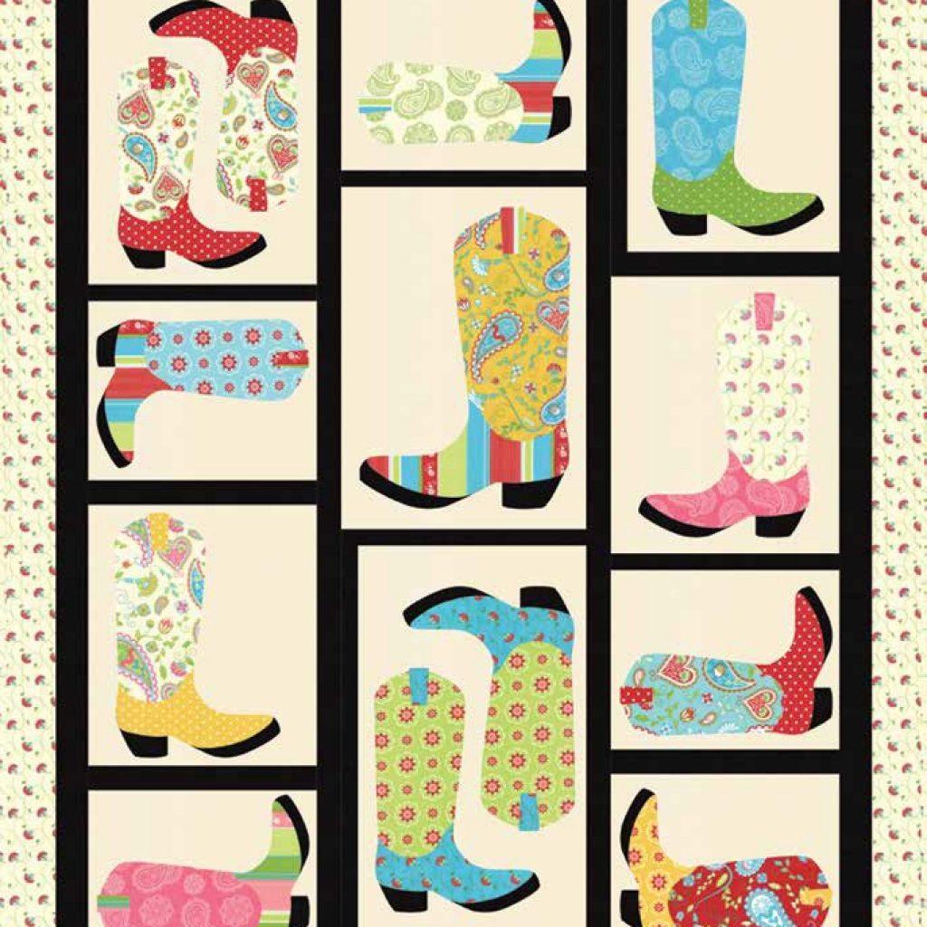 Elegant free pattern cowboy boots quilt 56 x 70 caravan roundup 9 Cozy Cowboy Boots Quilt Pattern