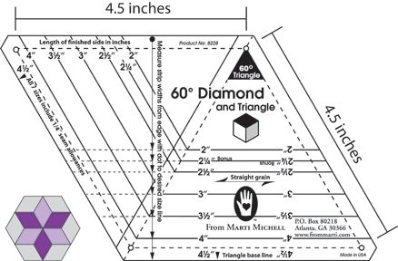 Elegant from marti michell one derful one patch 60 degree template 10 Stylish 60 Degree Triangle Quilting Ruler Gallery