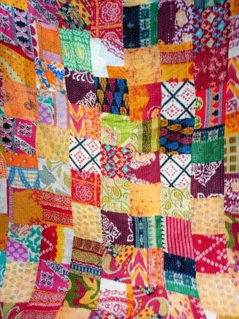 Elegant indian handmade quilt vintage kantha bedspread throw cotton queen indian gudari 10 Modern Vintage Kantha Quilt