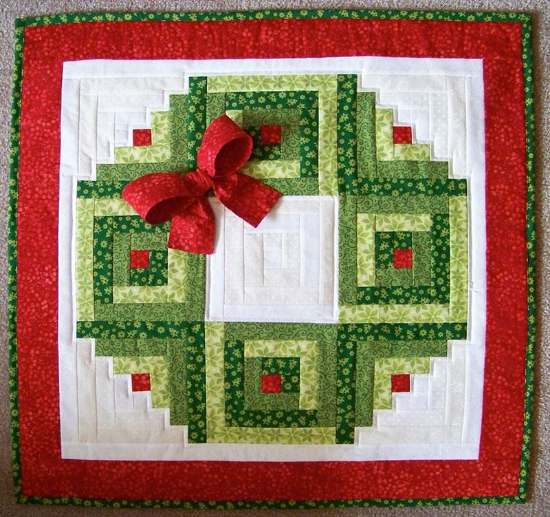 Elegant log cabin christmas wreath wall hanging plus bonus scrappy Cozy Eleanor Burns Log Cabin Quilt Pattern