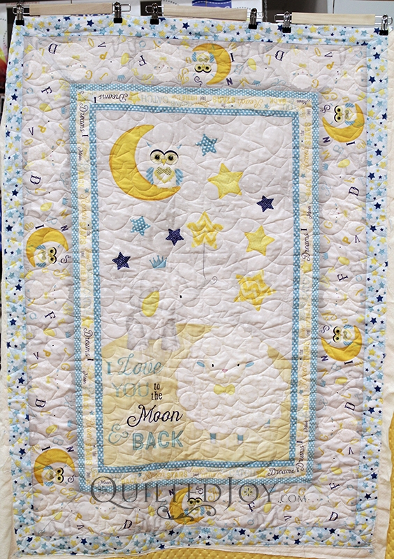 Elegant peggys to the moon and back ba quilt quilted joy 11 New Baby Quilt Fabric Panels Gallery