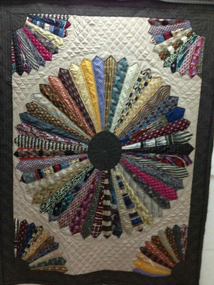Elegant quilt made with neck ties quilting crafts necktie quilt 11 Elegant Necktie Quilt Ideas Inspirations