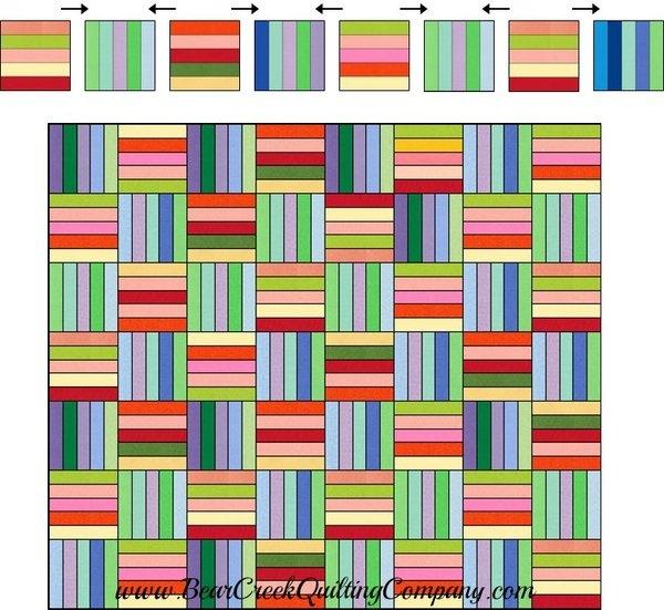 Elegant rainbow rail fence free quilt pattern 9 Elegant Fence Rail Quilt Pattern Gallery