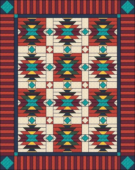Elegant southwest quilt pattern native american american indian 9 Stylish Southwestern Quilt Patterns