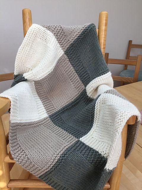 Interesting 3 color patchwork blanket knitting patterns free blanket 11 Stylish Patchwork Quilt Knitting Pattern
