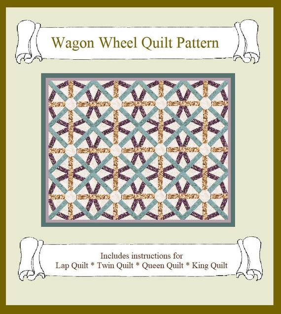 Interesting digital download wagon wheel quilt pattern instructions for 4 sizes lap twin queen king hand machine or english paper piecing 9 Elegant Wagon Wheel Quilt Pattern Gallery