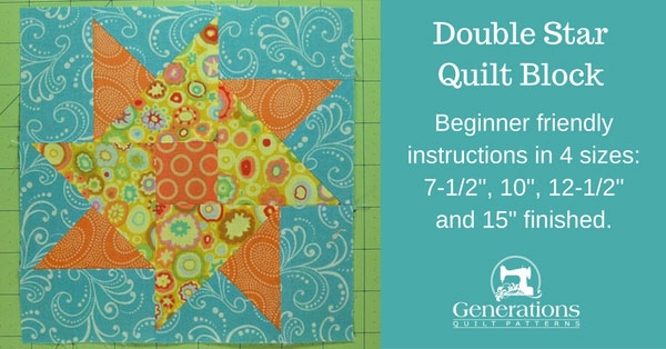 Interesting double star quilt block tutorial 75 10 125 and 15 12.5 Quilt Block Patterns