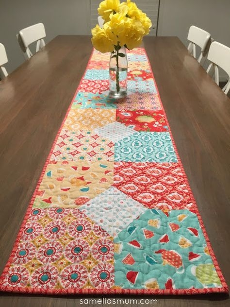 Interesting layers of charm table runner patchwork table runner 10 Interesting Quilting Patterns Table Runners Inspirations