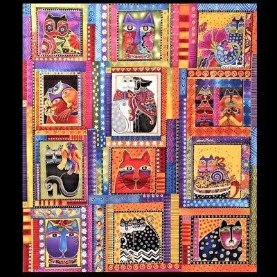 Interesting new laurel burch fabulous felines fabric panel bright 12 9 Cozy Laurel Burch Quilt Fabric
