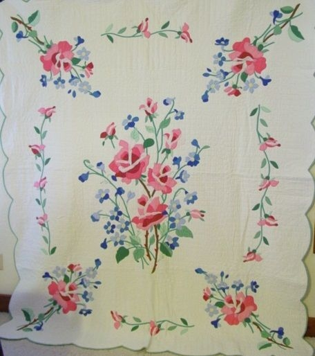Interesting old quilt patterns full view of the american beauty 9 Beautiful Antique Applique Quilt Patterns Gallery