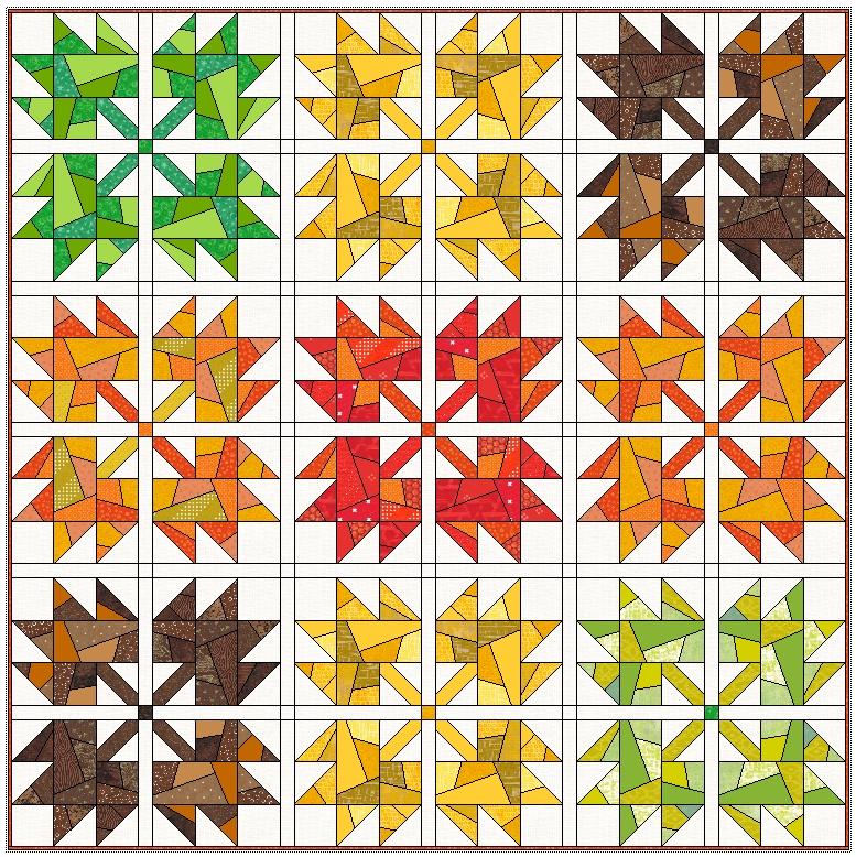 Interesting scrappy maple leaves quilt leila gardunia 10 Unique Maple Leaf Quilt Patterns