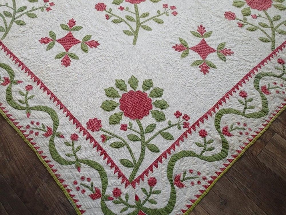Modern amazing christmas 1850s antique applique red green quilt Stylish Antique Applique Quilt Patterns Inspirations