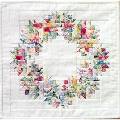 Modern floral wreath quilt quilting pattern paper foundation Elegant Floral Patchwork Quilt Patterns