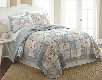 Modern garden floral vintage washed 100 cotton reversible patchwork quilt set or throw ebay 11 Unique Vintage Patchwork Quilt Bedding Gallery