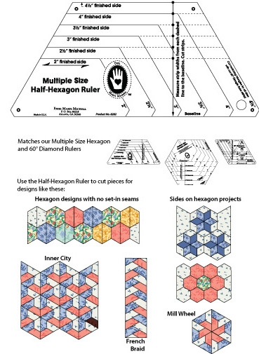 Modern hexagon ruler at from marti featuring quilting with the 11 Unique Half Hexagon Quilt Pattern Gallery
