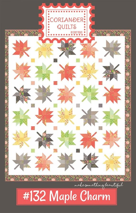 Modern maple charm quilt pattern autumn maple leaves quilt pattern fall leaves throw quilt pattern coriander quilts cq132 corey yoder 9 Elegant Maple Leaf Quilt Patterns Gallery