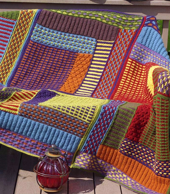 Modern quilt ba blanket and afghan knitting patterns in the 11 Modern Knitted Patchwork Quilt Patterns