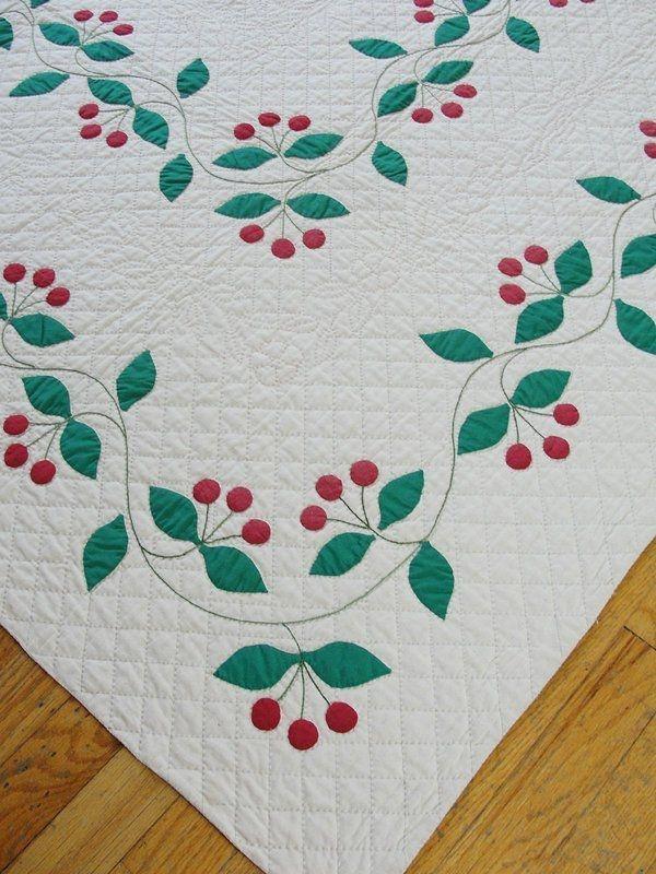 Modern rare find vintage 1930s applique cherry quilt red green 9 Beautiful Antique Applique Quilt Patterns Gallery