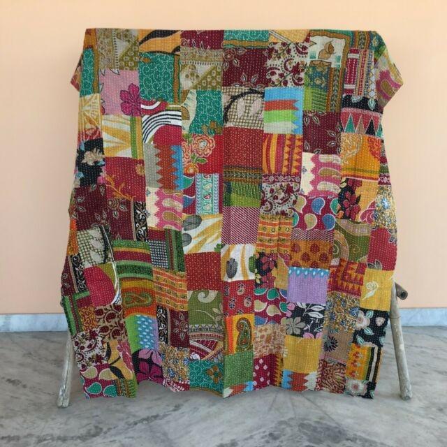 Modern vintage patchwork kantha quilt bedding bedspread reversible blanket throw 11 Unique Vintage Patchwork Quilt Bedding Gallery