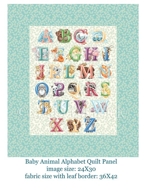 New fabric panel ba animal alphabet image size 24×30 inches cotton quilt fabric panel overall fabric size 36×42 11 New Baby Quilt Fabric Panels Gallery